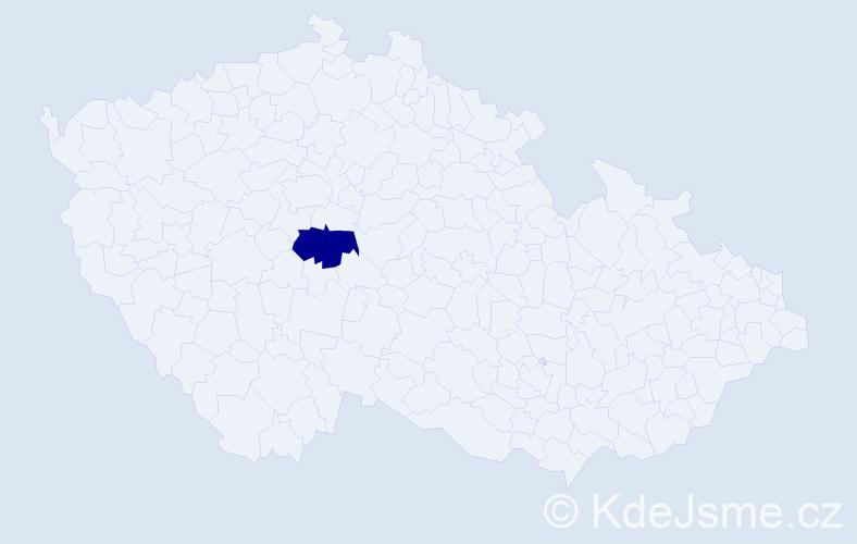 """Příjmení: '""""Čermáková Vyskočilová""""', počet výskytů 1 v celé ČR"""
