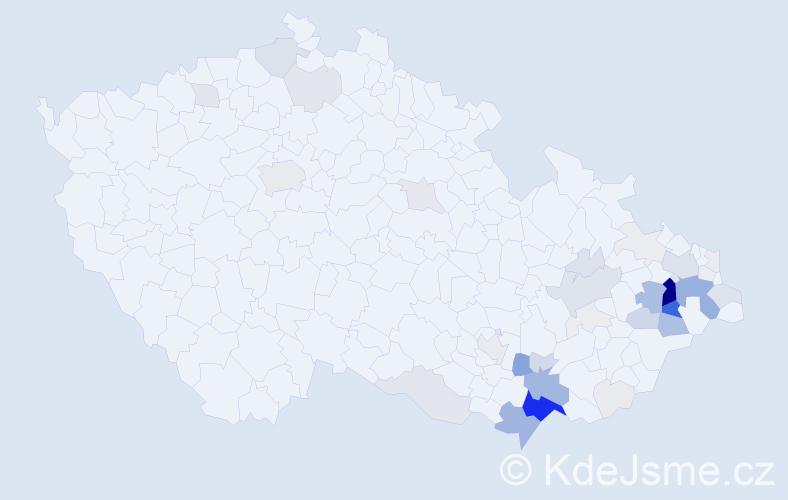 Příjmení: 'Koliba', počet výskytů 200 v celé ČR