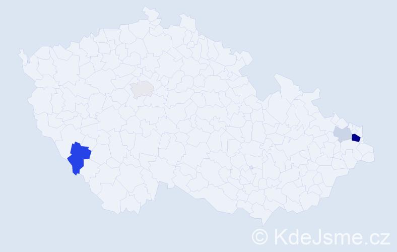 Příjmení: 'Laja', počet výskytů 8 v celé ČR