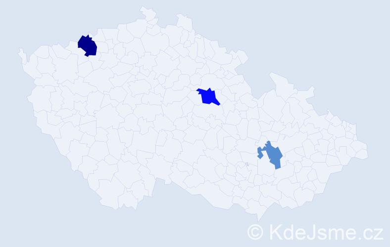 Příjmení: 'Hrebenar', počet výskytů 5 v celé ČR