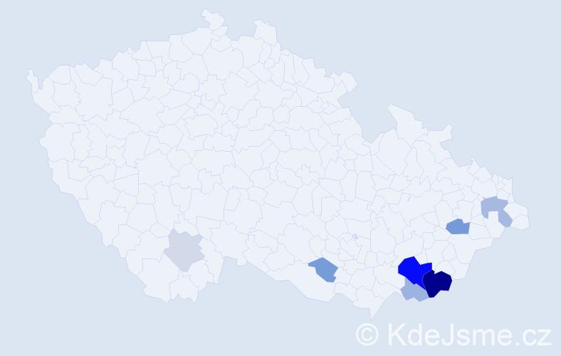 Příjmení: 'Čumíček', počet výskytů 24 v celé ČR