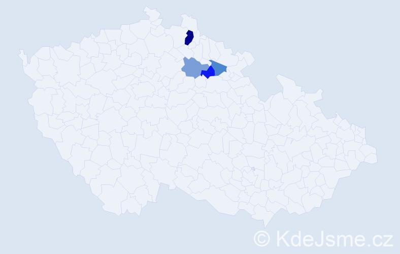 Příjmení: 'Gráda', počet výskytů 7 v celé ČR