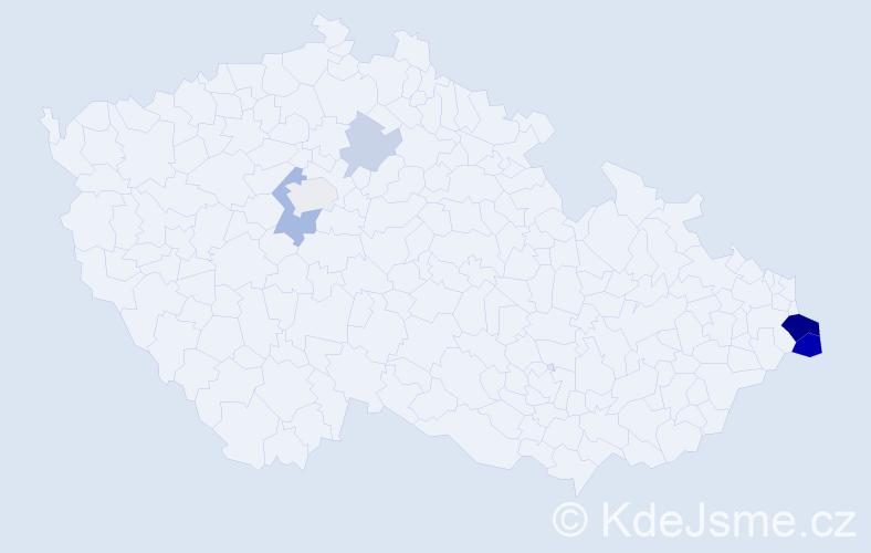 Příjmení: 'Lyžbická', počet výskytů 15 v celé ČR