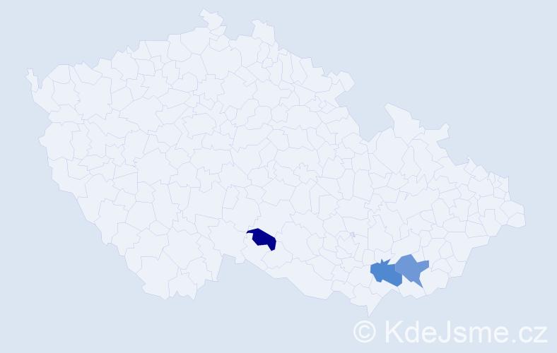 Příjmení: 'Díkovská', počet výskytů 5 v celé ČR
