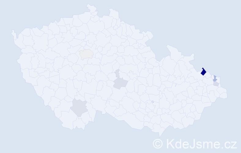 Příjmení: 'Hanzlik', počet výskytů 19 v celé ČR