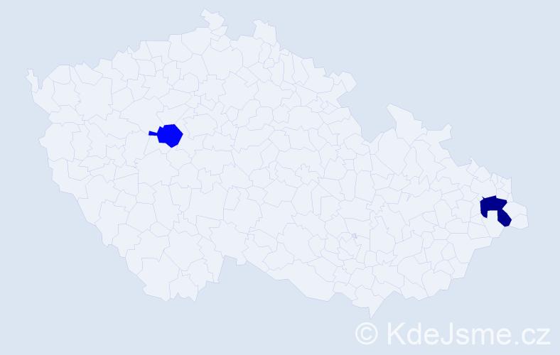 Příjmení: 'Klimczak', počet výskytů 3 v celé ČR