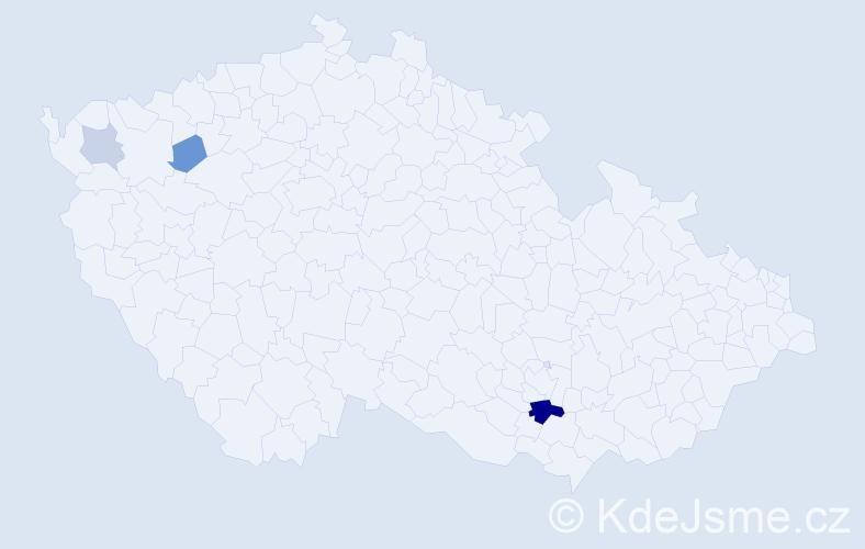 Příjmení: 'Gáč', počet výskytů 7 v celé ČR