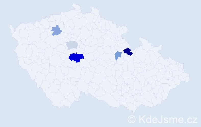Příjmení: 'Hlásecká', počet výskytů 15 v celé ČR