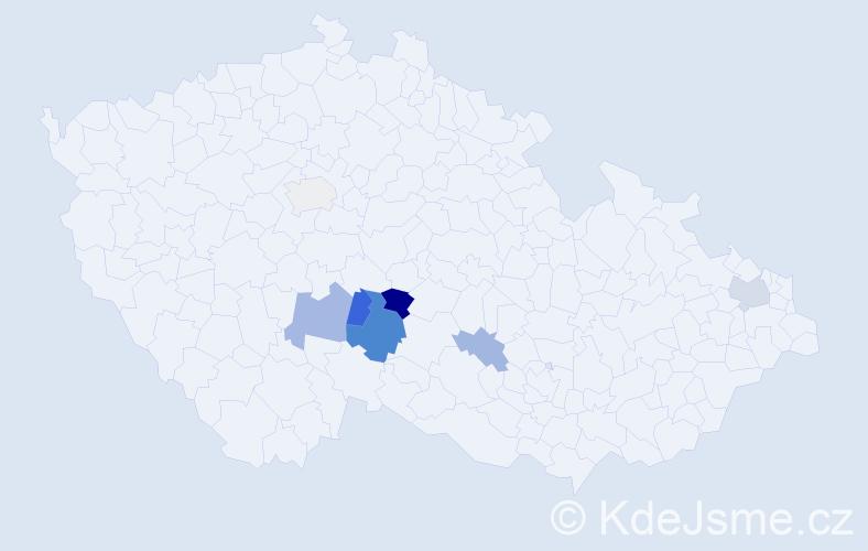 Příjmení: 'Čmuchová', počet výskytů 14 v celé ČR