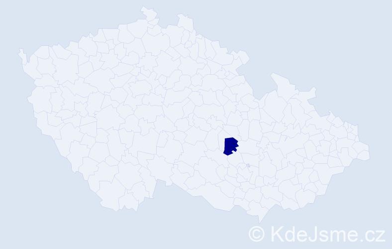 """Příjmení: '""""El-Achhebová""""', počet výskytů 1 v celé ČR"""