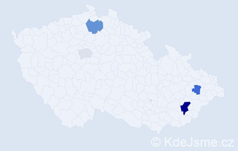 Příjmení: 'Daronová', počet výskytů 6 v celé ČR