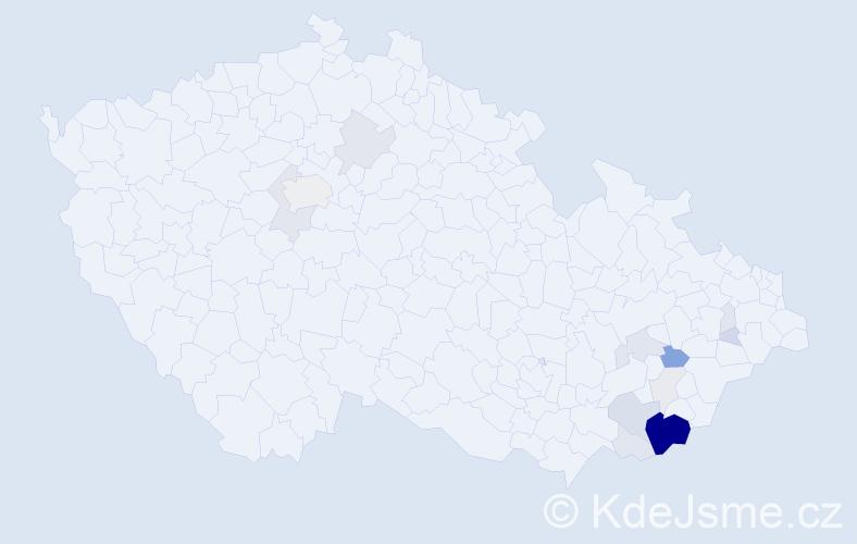Příjmení: 'Končitíková', počet výskytů 61 v celé ČR