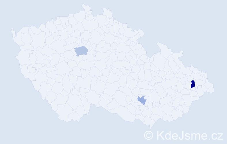 Příjmení: 'Kohen', počet výskytů 4 v celé ČR