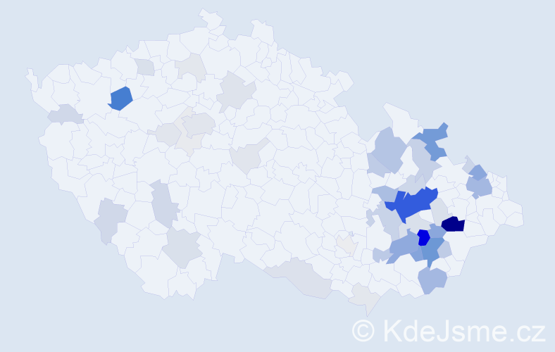 Příjmení: 'Gábová', počet výskytů 204 v celé ČR