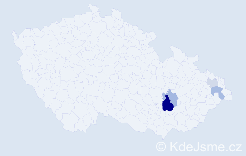 Příjmení: 'Judásek', počet výskytů 7 v celé ČR