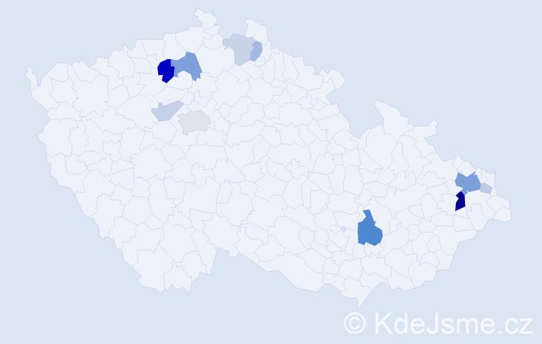 Příjmení: 'Gaubová', počet výskytů 27 v celé ČR