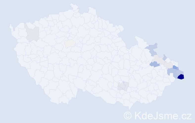 Příjmení: 'Jurosz', počet výskytů 42 v celé ČR