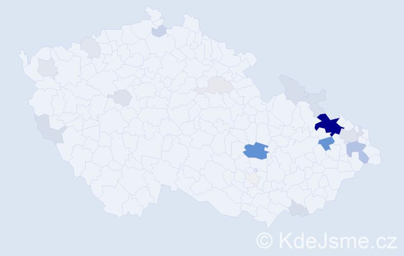 Příjmení: 'Celta', počet výskytů 69 v celé ČR