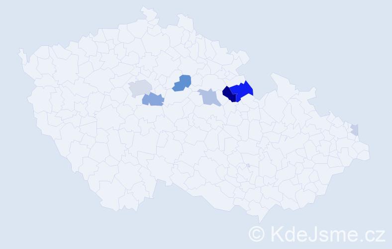 Příjmení: 'Kalecká', počet výskytů 21 v celé ČR