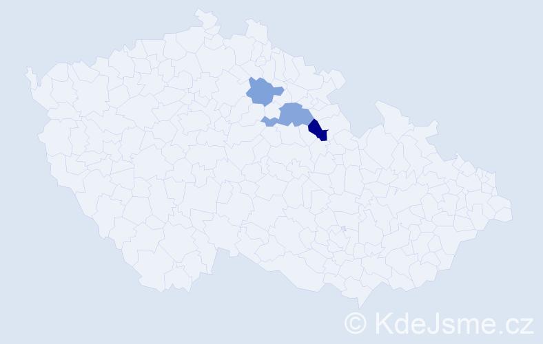 Příjmení: 'Etflaišová', počet výskytů 5 v celé ČR