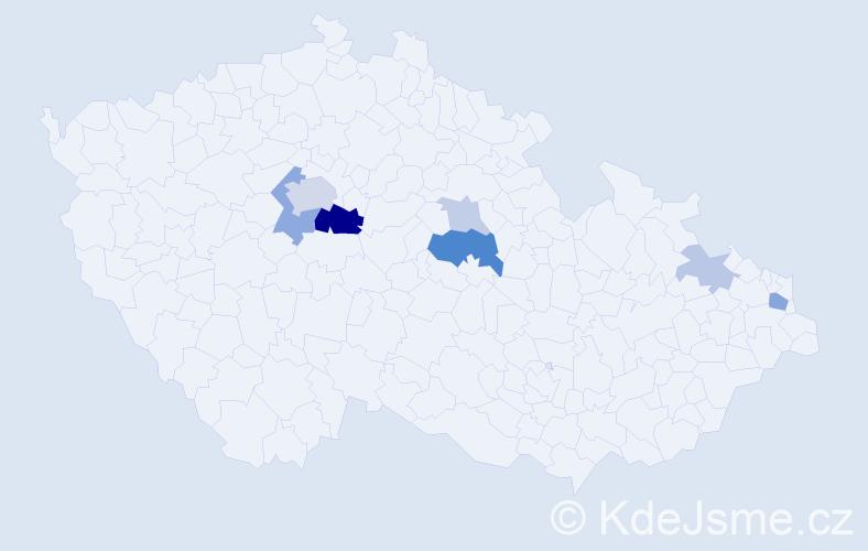 Příjmení: 'Galambica', počet výskytů 21 v celé ČR