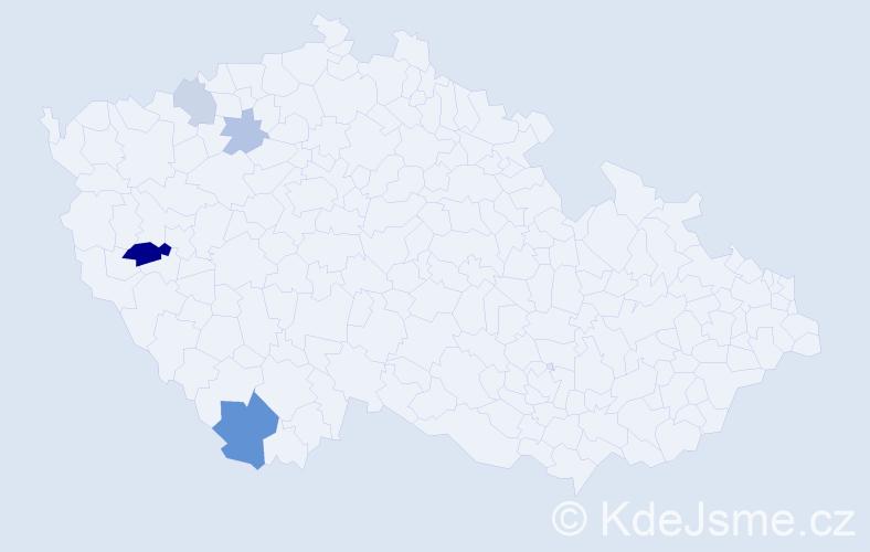 Příjmení: 'Kireš', počet výskytů 9 v celé ČR