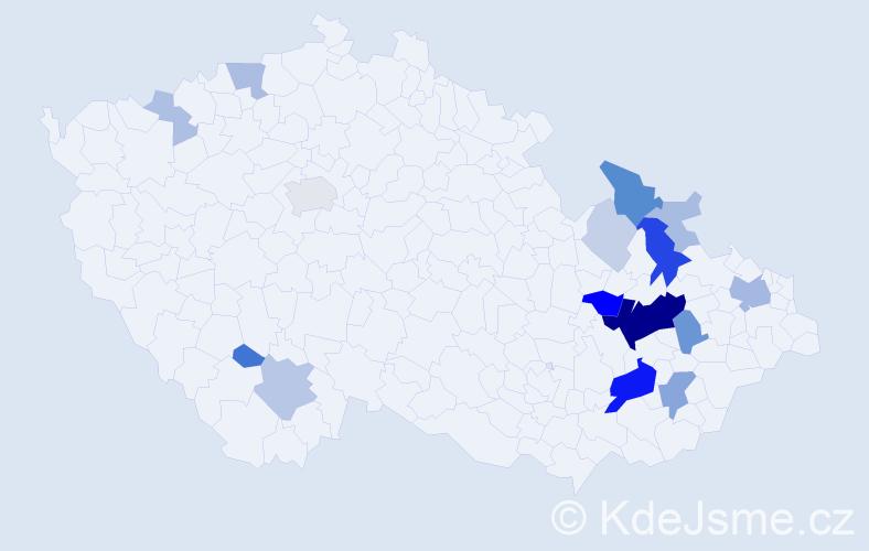 Příjmení: 'Haderka', počet výskytů 57 v celé ČR