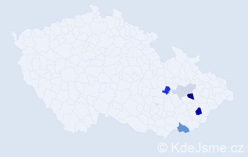 Příjmení: 'Čerešník', počet výskytů 8 v celé ČR