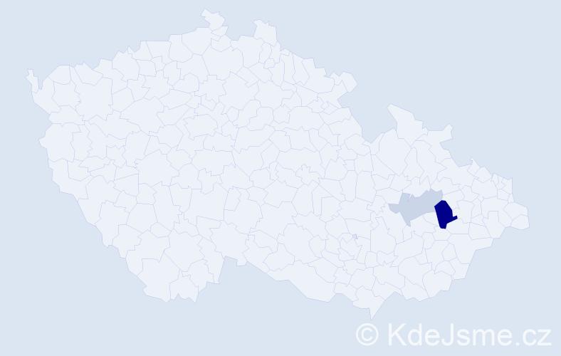 Příjmení: 'Kubjat', počet výskytů 5 v celé ČR