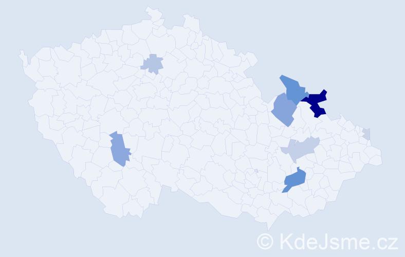 Příjmení: 'Číšecký', počet výskytů 25 v celé ČR