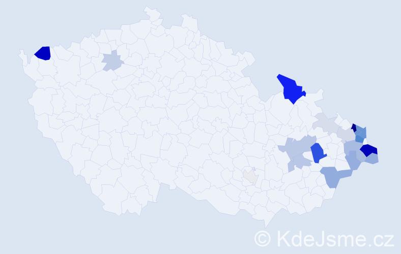 Příjmení: 'Gnida', počet výskytů 72 v celé ČR
