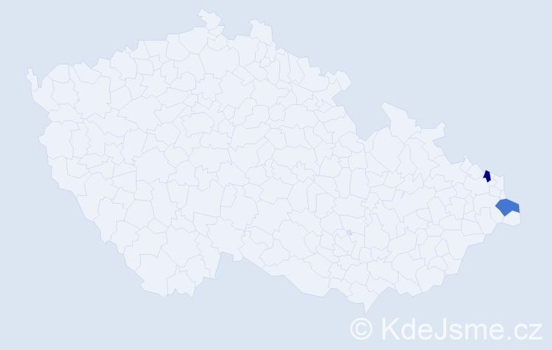 Příjmení: 'Ivaniuková', počet výskytů 2 v celé ČR