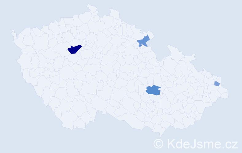 Příjmení: 'Hrebiková', počet výskytů 7 v celé ČR