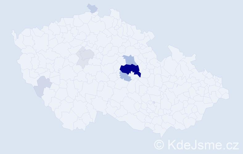 Příjmení: 'Kudrnka', počet výskytů 38 v celé ČR