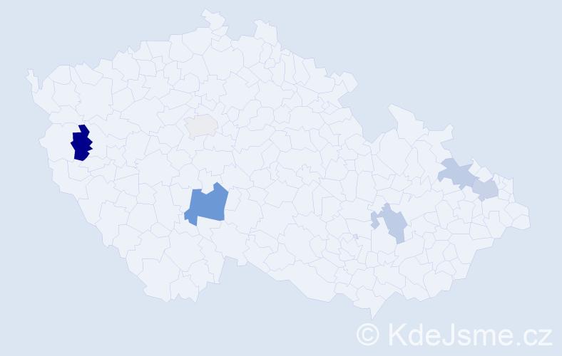 Příjmení: 'Kaľavský', počet výskytů 10 v celé ČR