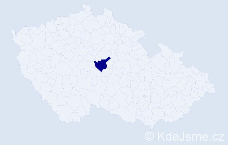 """Příjmení: '""""Kantorová Vachovcová""""', počet výskytů 1 v celé ČR"""