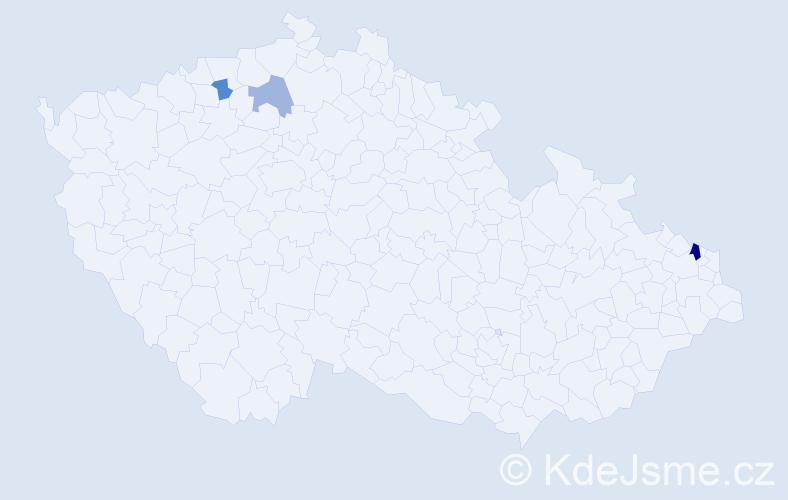 Příjmení: 'Kit', počet výskytů 5 v celé ČR