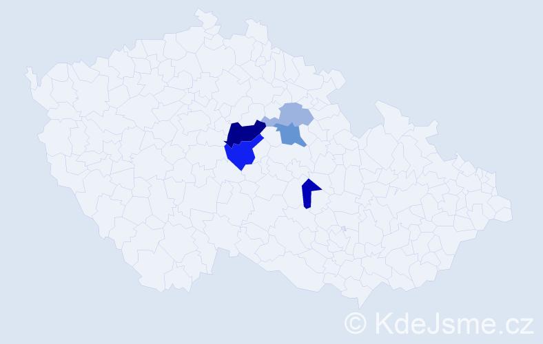 Příjmení: 'Kaisnerová', počet výskytů 10 v celé ČR