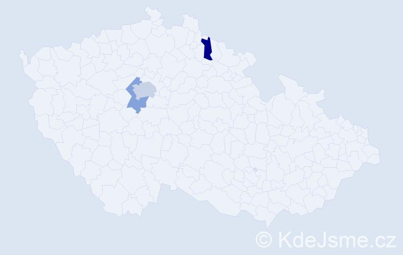 Příjmení: 'Jumr', počet výskytů 9 v celé ČR