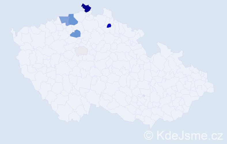 Příjmení: 'Bačkádyová', počet výskytů 11 v celé ČR