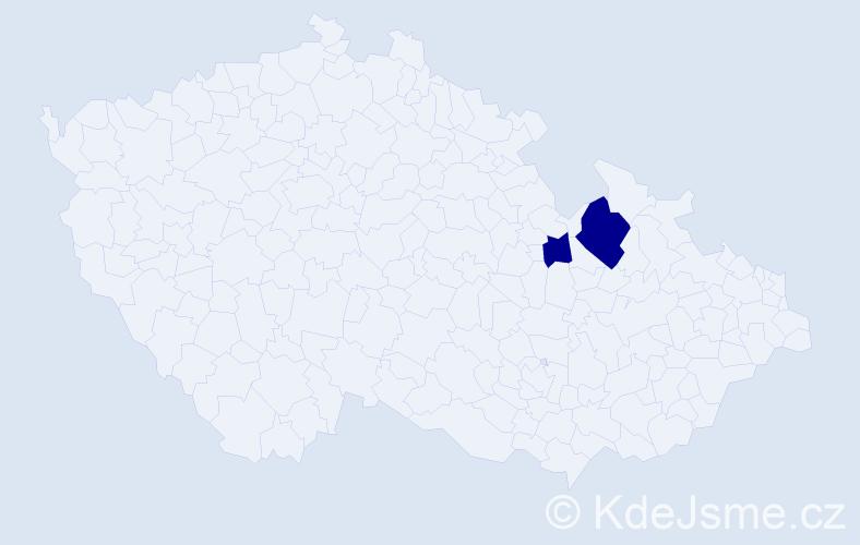 Příjmení: 'Cékrová', počet výskytů 4 v celé ČR