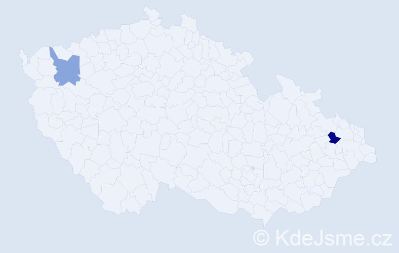 Příjmení: 'Eckelsbergerová', počet výskytů 5 v celé ČR
