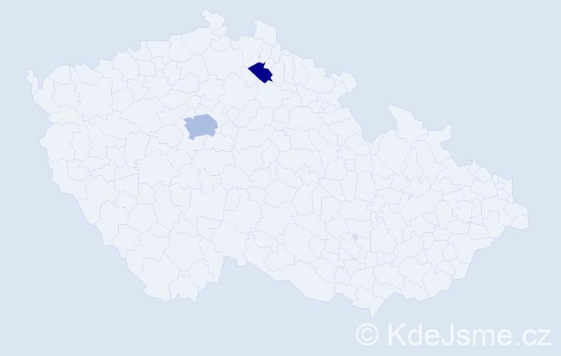 Příjmení: 'Konvalin', počet výskytů 4 v celé ČR