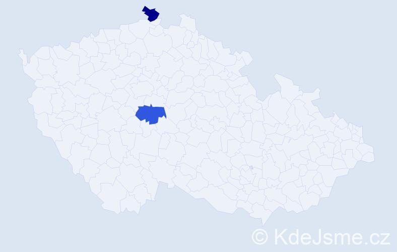 Příjmení: 'Caoová', počet výskytů 2 v celé ČR