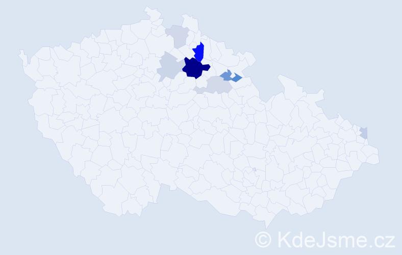 Příjmení: 'Jór', počet výskytů 16 v celé ČR