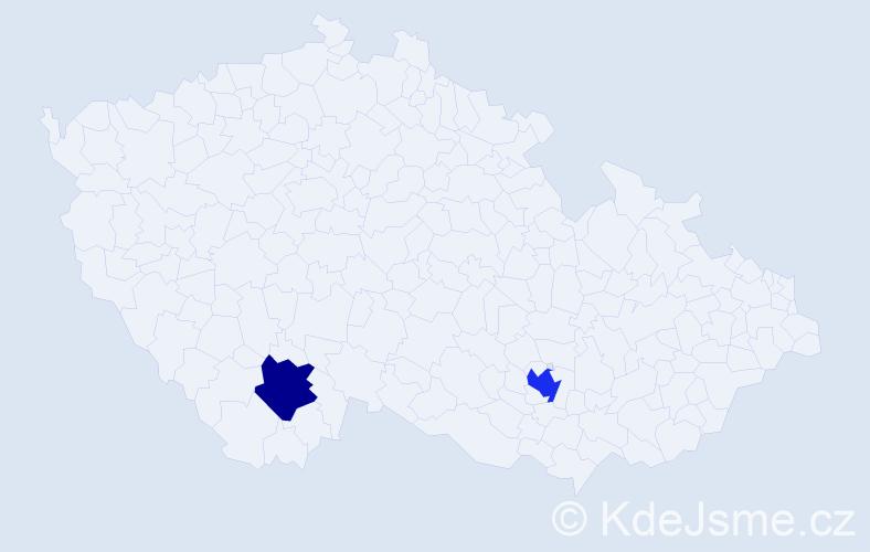 Příjmení: 'Haselböck', počet výskytů 5 v celé ČR