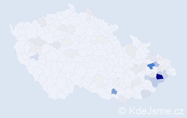 Příjmení: 'Divín', počet výskytů 164 v celé ČR