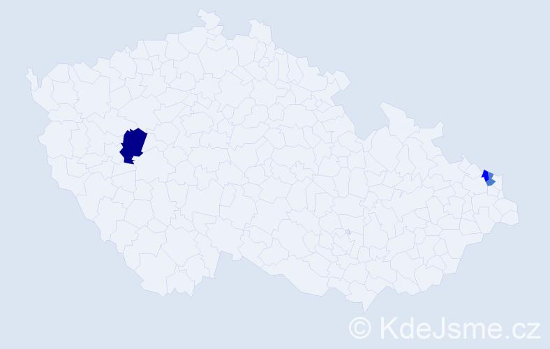 Příjmení: 'Jeziaková', počet výskytů 8 v celé ČR