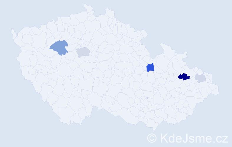 Příjmení: 'Ihnatová', počet výskytů 7 v celé ČR
