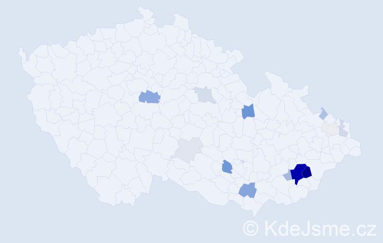 Příjmení: 'Bobal', počet výskytů 57 v celé ČR